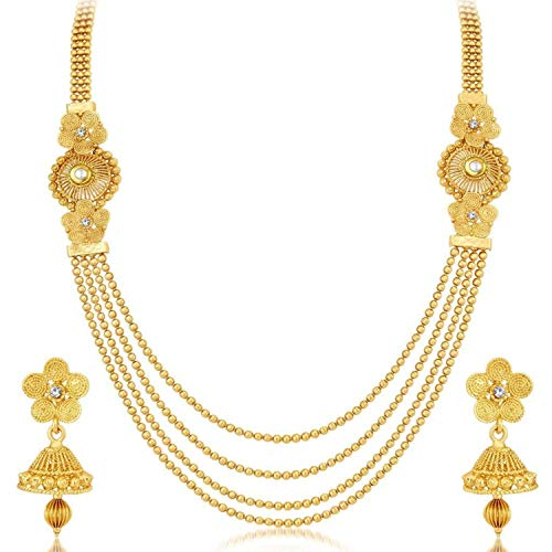 Efulgenz Indian Bollywood Multi Layered Traditional 14 K Gold Plated Crystal Beaded Wedding Temple Necklace Earrings Jewelry set