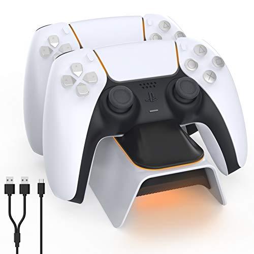 NexiGo Dobe - Cargador de controlador PS5 actualizado, estación de carga Playstation 5 con indicador LED, alta velocidad, base de carga rápida para controlador Sony DualSense, color blanco