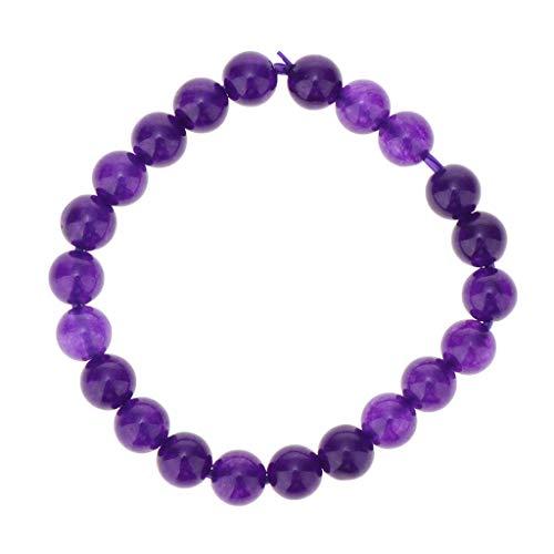 Bonarty Elegante Pulsera de Perlas de Cristal de Amatista Púrpura Natural Pulsera Tibetana - Púrpura 8 mm