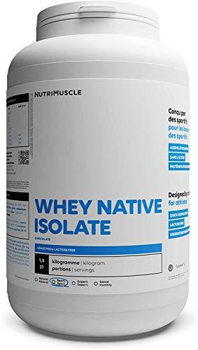 Isolat De Whey Native 100% Pur | Protéine en Poudre extra-protéinée (90%) • Lait français • Prise de Muscle • Musculation & Fitness | Nutrimuscle | Nature - 1,5kg