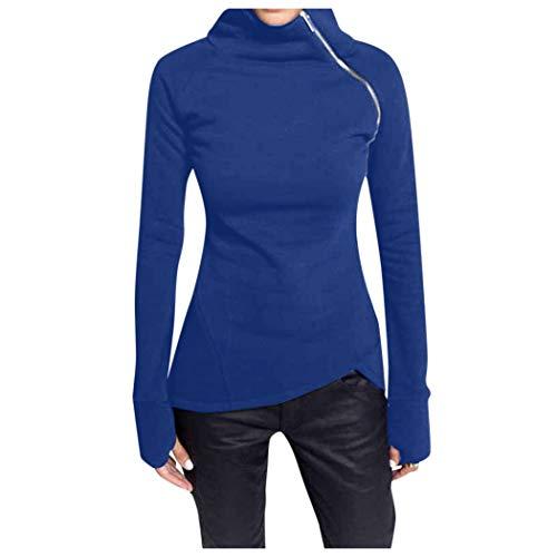 Damen lässig High Neck Reißverschluss Langarm Pullover einfarbig einfachen Stil