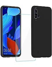 XinYue - Funda para Huawei Nova 5T / Honor 20 + Protector Pantalla, Carcasa de Silicona Líquida Gel Ultra Suave Funda con tapete de Microfibra Anti-Rasguño - Negro