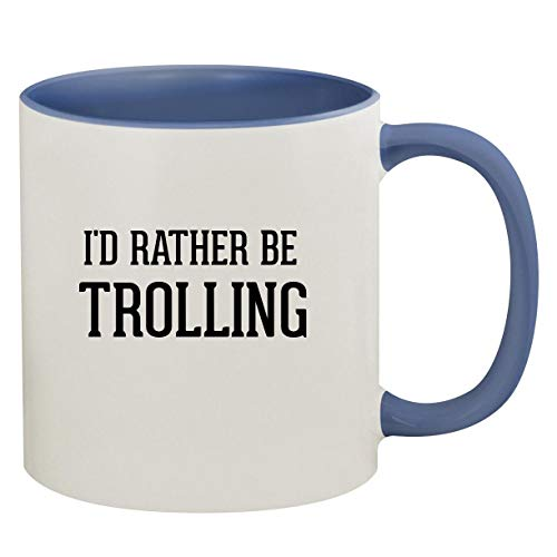I'd Rather Be TROLLING - 11oz Ceramic Colored Inside & Handle Coffee Mug, Cambridge Blue