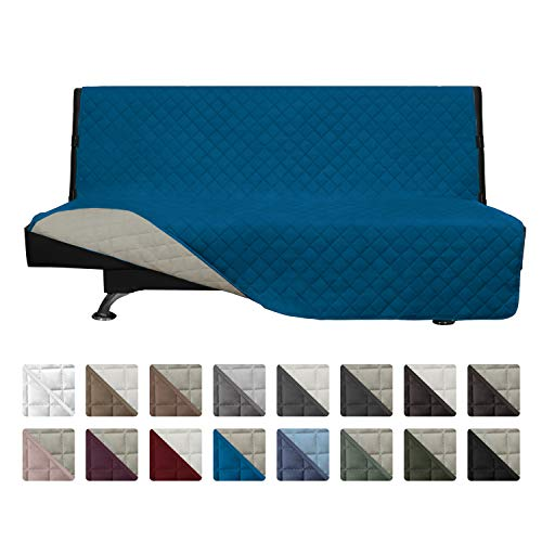 Easy-Going Futon Sofa Slipcover Reversible Sofa Cover Furniture Protector Couch Cover Water Resistant Pets Kids Children Dog Cat (Futon,PeacockBlue/Beige)