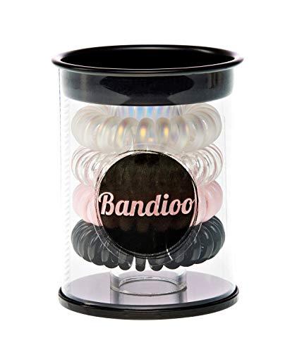 BANDIOO (1 x 4 Stück) Telefonkabel HAARGUMMIS + BOX für Mädchen, Frauen und Damen - buntes Haarschmuck Haarband Gummi Pferdeschwanz Accessoire Beauty Set - Kleine Geschenkidee (Pink Paradise)