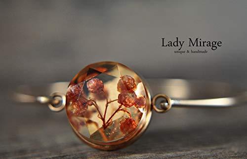 Echte Blüten Armreif Rosévergoldet Peach Rund Edelstahl Geschenkideen für Frauen