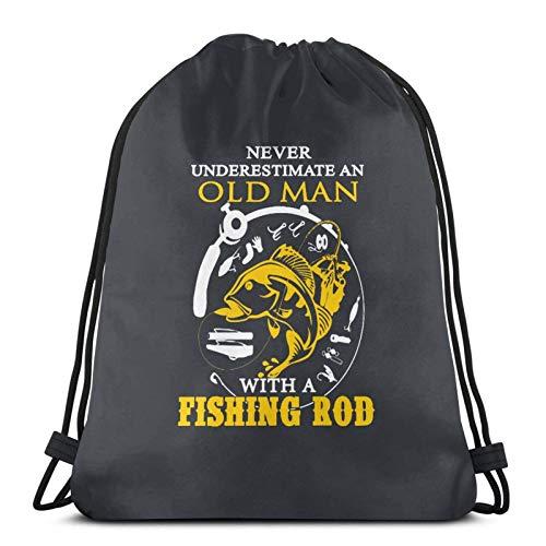 Nunca subestimar a un anciano con una caña de pescar bolsas de cordón ligeras para gimnasio, deporte, bapa para viajes, playa, yoga