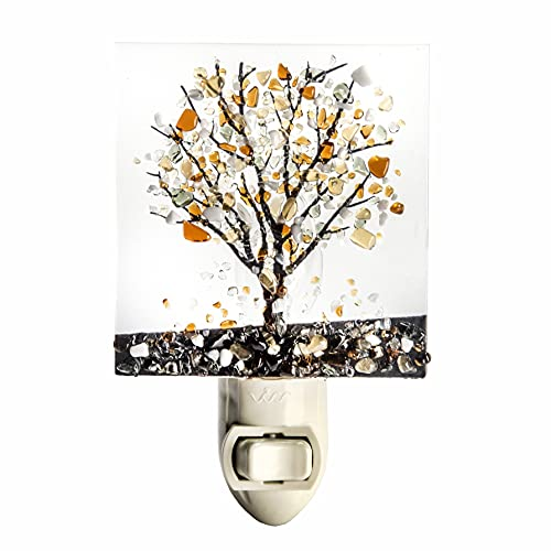 Tree Night Light Decorative Accent Lite Wall Plug in Nightlight for Hallway Bedroom Bathroom Kitchen Nature Themed Home Décor Amber Brown NTL 159-1