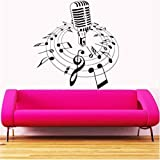 Nueva Música Creativa Vinilo Pared Calcomanía Micrófono Micrófono Melodía Notas Canción Dormitorio Arte Pared Pegatina Tienda De Cd Decoración Del Hogar 57X64Cm