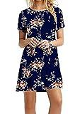 YMING Vestido de verano para mujer con camisa larga, estilo informal, talla XXS-XXXXXL, Azul y rosa., 24
