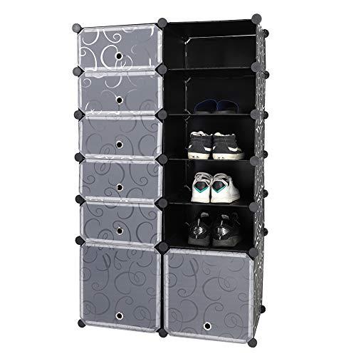 Ausla Organizador de almacenamiento de zapatos de seis niveles, estante modular para zapatos, estantes con puertas transparentes para ahorrar espacio, para zapatos, botas, zapatillas, color negro