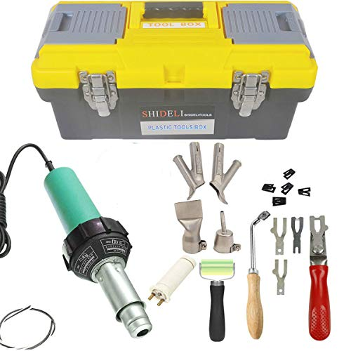 Go2Home 1600W Plastic Welder Kit Hot Air Gun Complete Tool Set Hand Held Torch Welder Pistol with Flooring Butterfly Repair Welding Kit Carry Case