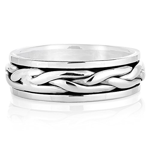925 Sterling Silver Woven Classic Celtic Knot Rope Design Eternity Band Ring Unisex Size 7