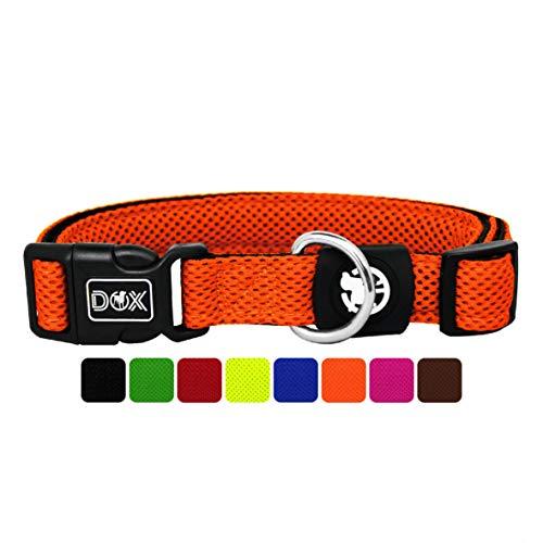 DDOXX Hundehalsband Air Mesh, verstellbar, gepolstert | viele Farben | für kleine & große Hunde | Halsband Hund Katze Welpe | Hunde-Halsbänder | Katzen-Halsband Welpen-Halsband klein | Orange, S