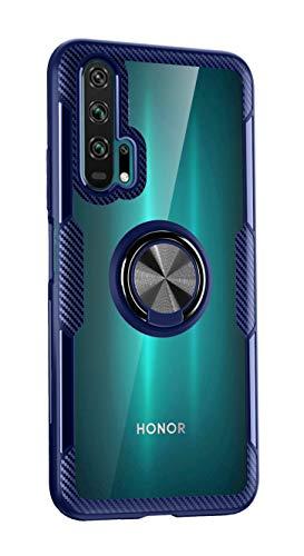 SORAKA Coque Transparent pour Honor 20 Pro avec Anneau Rotatif à 360 degrés et Plaque métallique pour Support Téléphone Voiture Magnétique Slim Fit Transparent Hard Etui+Pare-Chocs Silicone