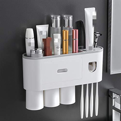 Shop-PEJ Cuarto de baño Adsorción magnética Holdo invertido Cepillo de Dientes Dispensador automático de Pasta de Dientes, Conjunto de Herramientas de Rack de Pared de Pared para Almacenamiento