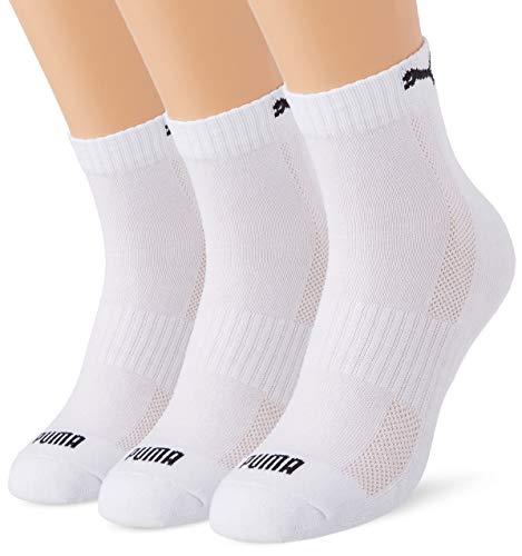 PUMA Cushioned Quarter Socks (3 Pack) Calzini, Bianco, 39-42 Unisex-Adulto