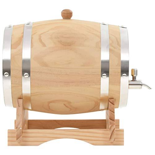 Tidyard Weinfass mit Hahn Kiefernholz Massiv 6 L Pine Wine Barrel with Cockerel Wooden Barrel Whisky Barrel Schnapps Barrel