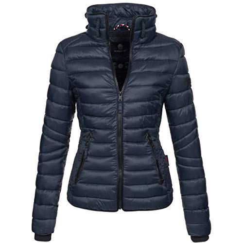 Marikoo Damen Jacke Steppjacke Übergangsjacke gesteppt mit Kordeln Frühjahr Camouflage B405 [B405-Lola-Navy-Gr.XS]
