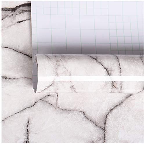 VEELIKE Carta Adesiva Effetto Marmo Pellicola Adesiva Marmorizzata Rivestimento Murale Carta Da Parati In Pietra Granito Bianco E Grigio Per Mobili Da Cucina Adesivo In Vinile Autoadesiva 40 cm x 9 m