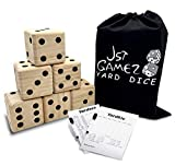 JST GAMEZ Giant Wooden Yard Dice Set of 6 Outdoor Games for Adults and Family Lawn Games - Includes Carry Bag and Rules