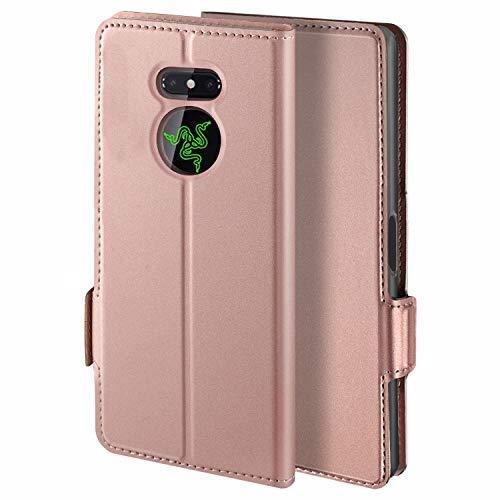 HoneyHülle für Handyhülle Razer Phone 2 Hülle Premium Leder Flip Schutzhülle für Razer Phone 2 Tasche, Rose Gold