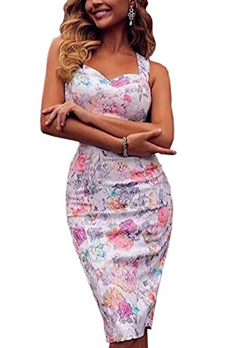 WOZNLOYE Donna Stampa Fiore Vestito a Tubino Strette Abito a Fascia Moda Abiti al Ginocchio Sexy Sling Senza Schienale V Collo Vestiti da Sera e Cerimonia Partito Festa (L, Bianca)