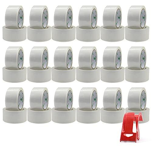 BOMEI PACK 36 rollos de cinta adhesiva transparente con 1 rollo de plástico, 48 mm x 66 m