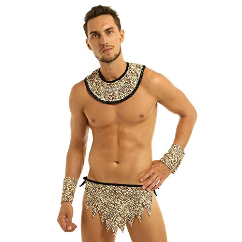 ranrann Disfraz de Caverncola para Hombre Set Cosplay Caveman Conjunto de Ropa Interior Estampado de Leopardo para Halloween Fiesta Dress Up Marrn XX-Large
