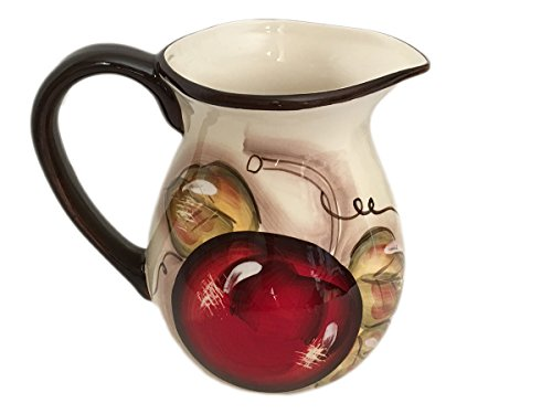 Classic Cucina Italiana Ceramic 2 Liter Wine/Water Jug White Fruit Design