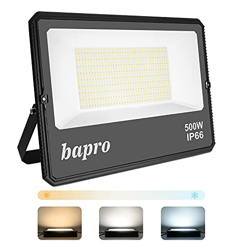 500W Regulable LED Foco Exterior, Potente 50000LM Proyector LED por interruptor (2700K-4000K-6500K), Impermeable IP66 Floodlight Luces Seguridad Luz de Iluminación Lampara para Patio, Camino, Jardín
