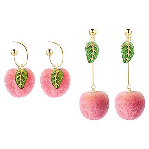 Holibanna 2 Pares de Pendientes de Melocotón Pendientes de Fruta Pendientes en Forma de Melocotón Pendientes Rosados Joyería de Oído para Mujeres Accesorios de Decoración de Orejas para