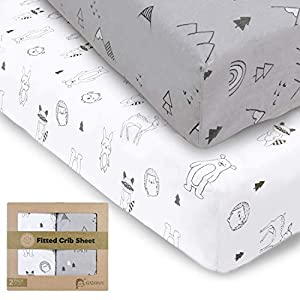 crib bedding and baby bedding 100% jersey fitted crib sheets for boys and girls - 2-pack soft & breathable cotton crib sheets neutral - fits standard nursery crib mattresses - toddler bed sheets - crib mattress sheet set(woodland)