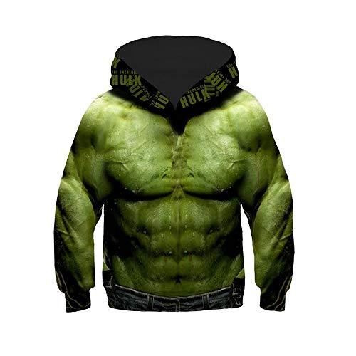 KIDSHOODIE Kinder Hoodie 3D-Druck Hulk Pullover Herbst Jacke Kid-Jungen-Mädchen-Kleidung Baseball Tragen Mantel Mit Kapuze Green-145cm-155cm[L]