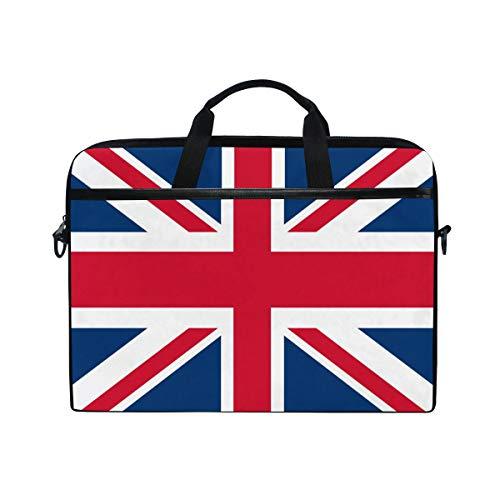 Mnsruu British Flag Union Jack 15 inch Laptop Laptop Sleeve Case Briefcase Messenger Notebook Computer Bag Shoulder Strap Handle for Men Women Boy Girls