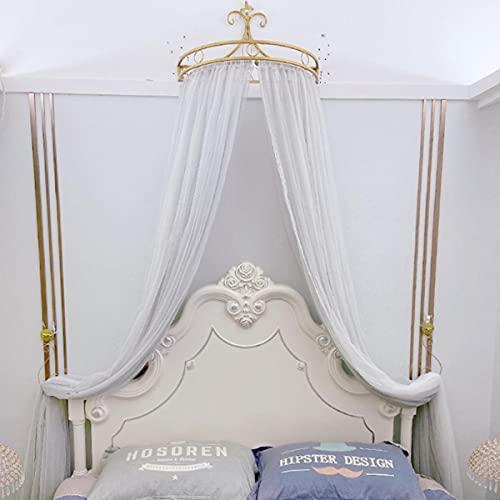 Cortina de cama Retro con corona de princesa, decoración de habitación para niñas y niños, red encantadora de hilo para cabecera, tienda de campaña de princesa romántica, dosel de cama, cenefa