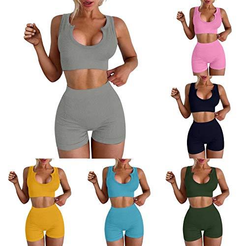Ropa Deportiva de Yoga para Mujer Traje de Ocio de Verano Traje de Manga Corta Todo fósforo sin Mangas de Cintura Alta
