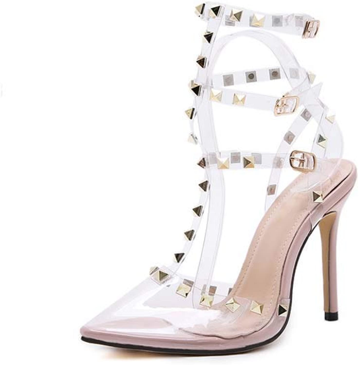 Women's Jelly Slingback Sandals,PVC Spring Summer Transparent shoes Pointed Stiletto Heel,Party & Evening