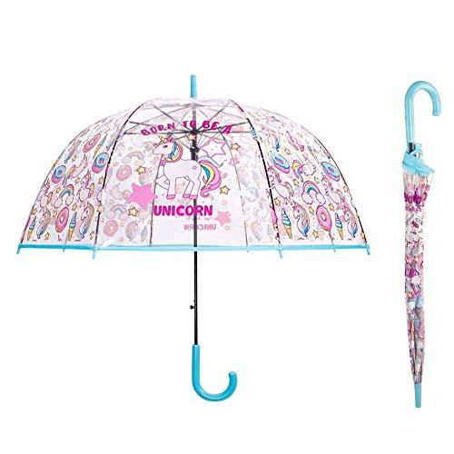 Einhorn Kinder Schirm für Mädchen Durchsichtiger Regenschirm Robuster und Windfester Regenschirm mit Transparenter Kuppel (Blau)