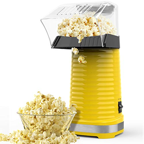 Hot Air Popcorn Machine, Popcorn Maker, 1200W Hot Air Popcorn Popper for Home, BPA-Free, No Oil Needed Healthy Family with Measuring Cup and Removable Cover (Yellow)