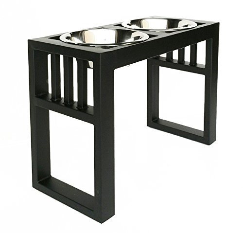 Libro Double Diner - Raised Dog Feeder - 15' Tall, Raised Dog Feeder - Color: Black - Great for...