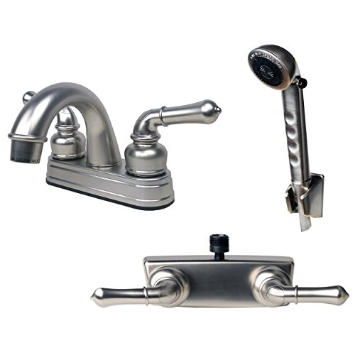 Builders Shoppe 2001BN/3220BN/4120BN RV Bathroom Faucet with Matching Hand Shower Combo Brushed Nickel Finish