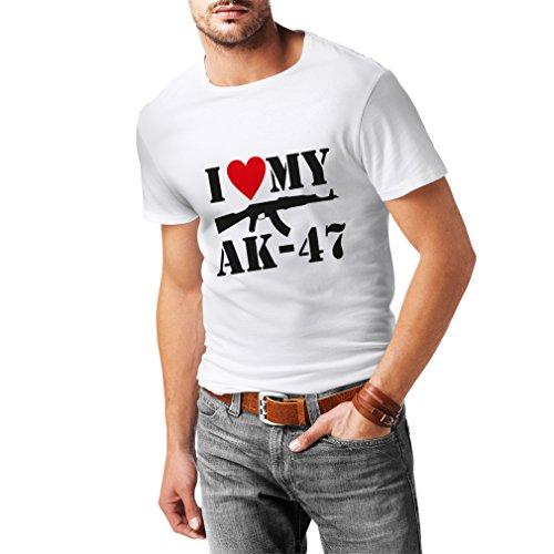 Männer T-Shirt Ich liebe meine Ak - 47, russisch machte Aka, Калашников Kalashnikov (X-Large Weiß Schwarz)
