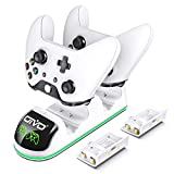 OIVO Controller Charger for Xbox One, Fast Dual Charging Station Updated LED Strap, Remote Charger Dock - 2 Rechargeable Battery Packs Included - White