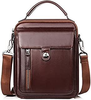 Haibeisi Fashion Unique Men's Genuine Leather Shoulder Bag Portable Fashion Shoulder Messenger Bag Handbags (Color : Brown, Size : S)