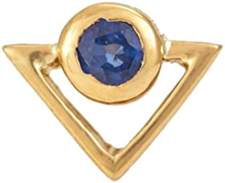 Gehna 22KT Yellow Gold and Blue Sapphire Nose Pin for Women