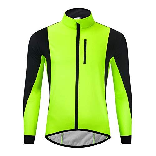 Maoviwq Ciclismo Jersey Invierno Calentamiento Polar Hombre Chaqueta Ciclismo Impermeable Bicicleta MTB Carretera Ropa de Bicicleta de Carretera Bicicleta de Montaña (Talla 3XL; Color: Verde)