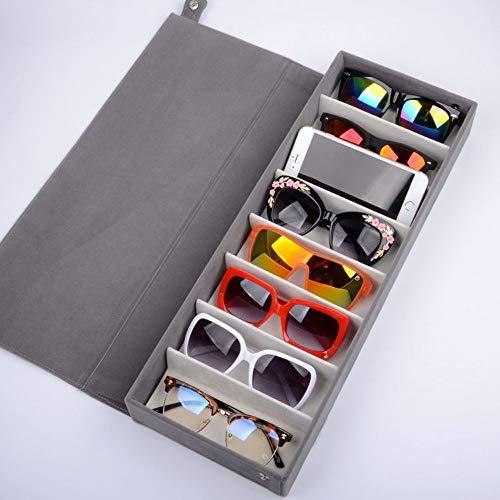 WGFW Guardar Gafas Mantenga Sus Gafas Ordenadas para Guardar Y Exhibir Gafas/Relojes/Joyas/Anteojos Caja De Almacenamiento 8 Compartimentos