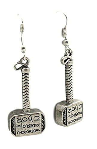 Outlander Marvel Thor Hammer Text Logo Earring Dangles In Gift Box