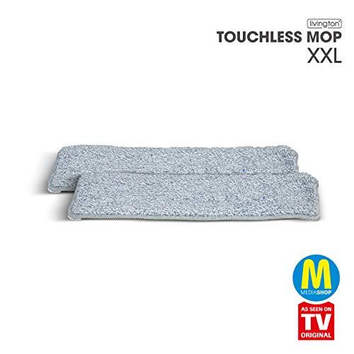 Mediashop Livington Touchless Mop Deluxe XXL Mikrofaser Pads – Ersatz Wischmopp Bezug für den Bodenwischer ohne Bücken – Mikrofaser Pad für einfache Reinigung – 2 Stück